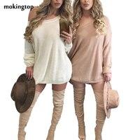 Mokingtop Strickkleid Frauen Beste Freunde Langarm-lose Herbst Mini Kleid Pullover Elegante Kleid Vestido De Manga Larga # A12