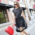Европа и большой новый талии полосатый топы сетки юбка из двух частей устанавливает летом женские оптом