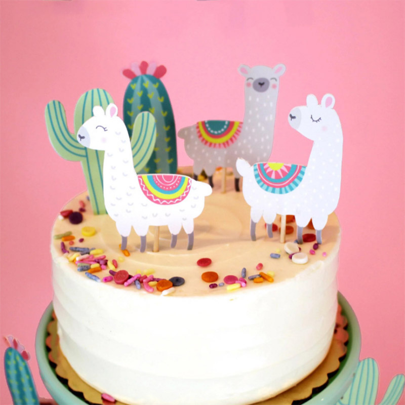 Cactus Alpaca Llamas Unicorn Cake Topper Cupcake Toppers Wedding Birthday Cake Decoration Jungle Summer Party Supplies birthday cake