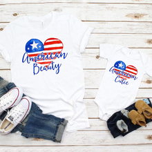 american beauty tshirt cutie shirt 4th of july tops celebration red blue mom and daughter tee family clothes little girl