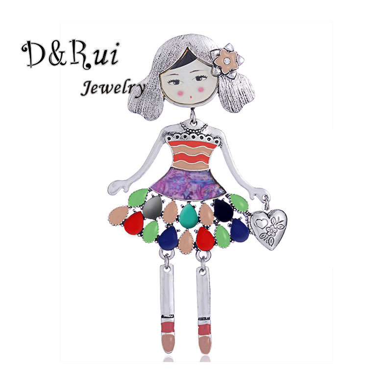 Classic Girls Brooch Colorful Enamel Doll Brooches Pin Scarf Sweater Collar Pins Accessories Metal Alloy Lapel Badge Jewelry