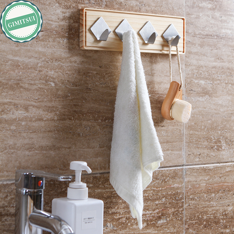 16*7.5cm Small Strong Wall Self Adhesive Sticky Wood & Stainless Steel Hook Hanger Holde ...