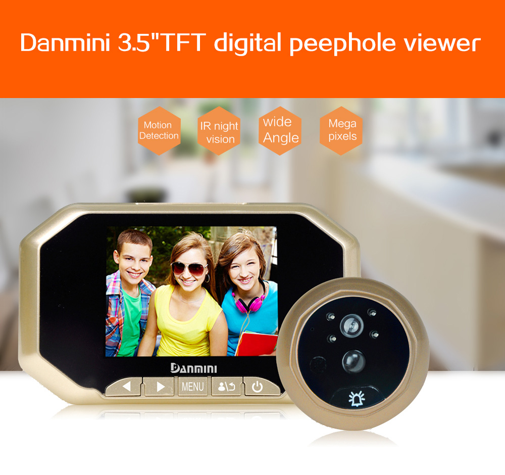DANMINI 3.5 LCD 2MP Door Peephole Viewer Wireless Digital HD IR Night Vision Door Camera PIR Motion Detection Video Doorbell original danmini 3 0 tft lcd color screen door peephole viewer ir led night vision light doorbell 145 degrees view angle system