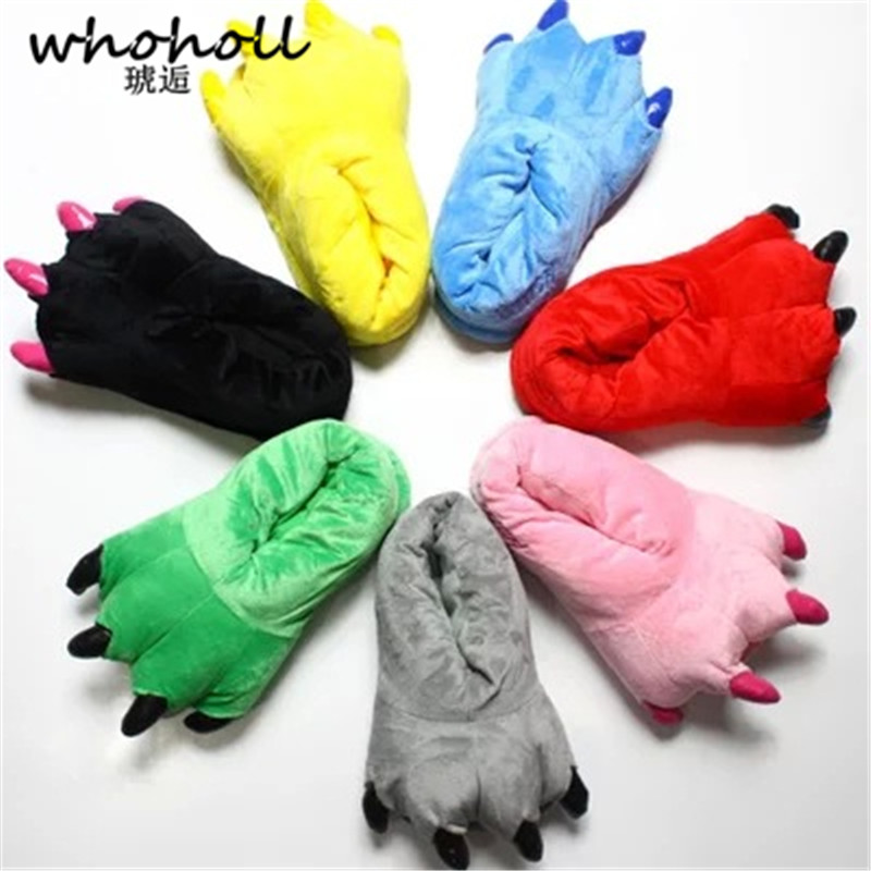 Whoholl 11 Color Funny Animal Paw Unisex Slippers Women Cute Monster Claw Slippers Cartoon Soft Plush Warm Home Slippers