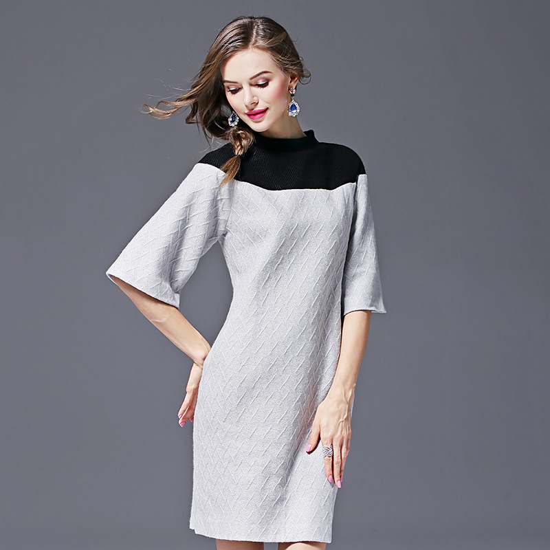Patchwork Gamme Hiver A Chaud Couleur Casual Nouveau Mode Grey Robe Stand Haut Épaissir Tricoté ligne Automne Genou Rétro De longueur WS7pBqqfF