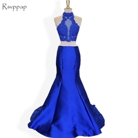 Long Prom Dresses 2018 High Neck Sleeveless Beaded Lace Top Royal Blue Mermaid African Two Piece Prom Dress