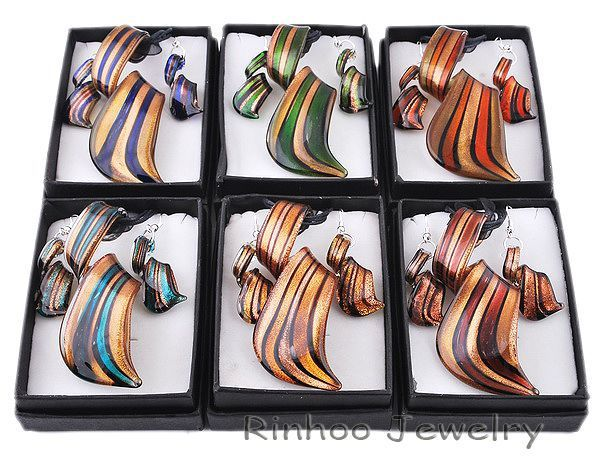 6pcs/set twist gold dust lampwork murano pendant necklaces glass necklace earrings jewelry sets for women