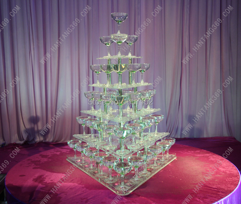 Wedding wine tower, Five tiers arcrylic champagne tower, festive party supplies