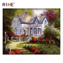 RIHE Quiet Villa Diy Painting By Numbers Abstract Road Oil On Canvas Cuadros Decoracion Acrylic Wall Picture For Room