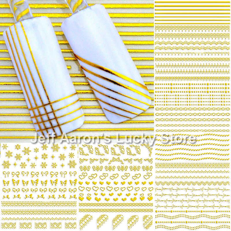 12 PCS projetos mistos 3d decorações da arte do prego adesivo forro stripe decalques beleza manicure unhas acessórios de prata ouro negro