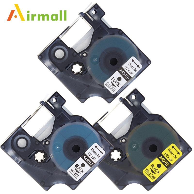 Airmall 3 Pack lot Compatible DYMO D1 Label Tapes 12mm Compatible Dymo D1 45010 45013 45018