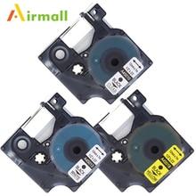 Airmall 3 упак./лот Совместимость DYMO D1 ленты этикетки 12 мм Совместимость DYMO D1 45010 45013 45018