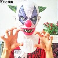 Bestnote 100% Latex Joker Clown Maske Kostüm Lustige Scary Maske Creepy Böse Scary Halloween Clown Maske Vollen Kopf Big Nose Narr