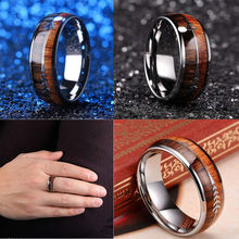 Beautiful 8mm Silver Natural Wood and Arrow Design Tungsten Ring For Men's