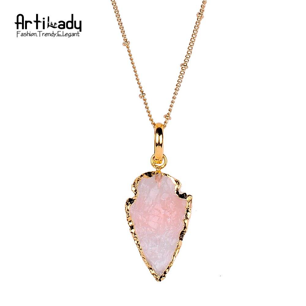 Prix pour Artilady naturel cristal flèches collier pendentif or couleur multicolore cristal collier pour femmes bijoux parti cadeau