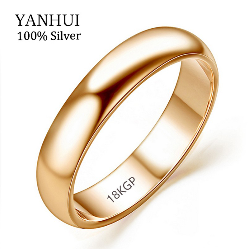 Lose Money Promotion Real Pure Gold Rings For Women and Men With 18KGP Stamp 5mm Top Quality Rose Gold Ring Jewelry JZR050