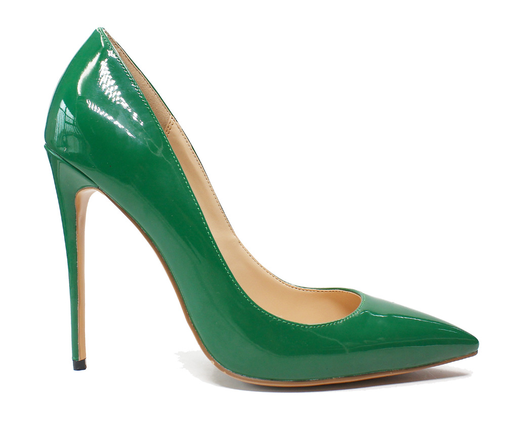 d3342afb7111 OKHOTCN Brand Shoes Woman High Heels Women Shoes Pumps Stilettos Shoes For Women  Green Patent Leather High Heels Wedding Shoes-in Women s Pumps from Shoes  ...