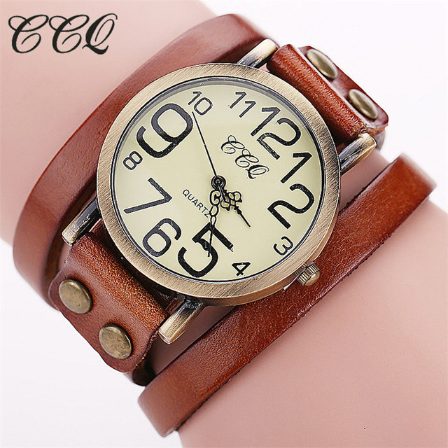 CCQ Brand Fashion Vintage Cow Leather Bracelet Watches Women Dress Wristwatch Qu