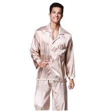Бренд-одежда Весна Длинные пижамы masculino Комплекты двух частей мужские шелковые атласные пижамы Hombre пижамы YT16QTZ066