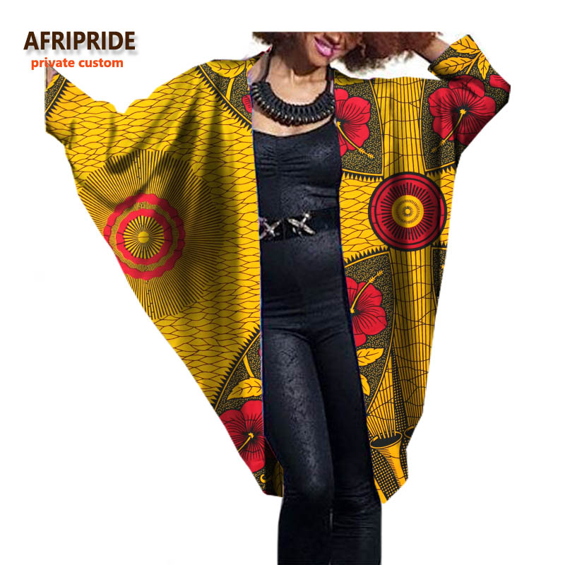 2017 модные африканские женщины bat пальто AFRIPRIDE частный настраиваемый Осень Повседневная Женская пальто-мантия супер батик хлопок плюс sizeA722416