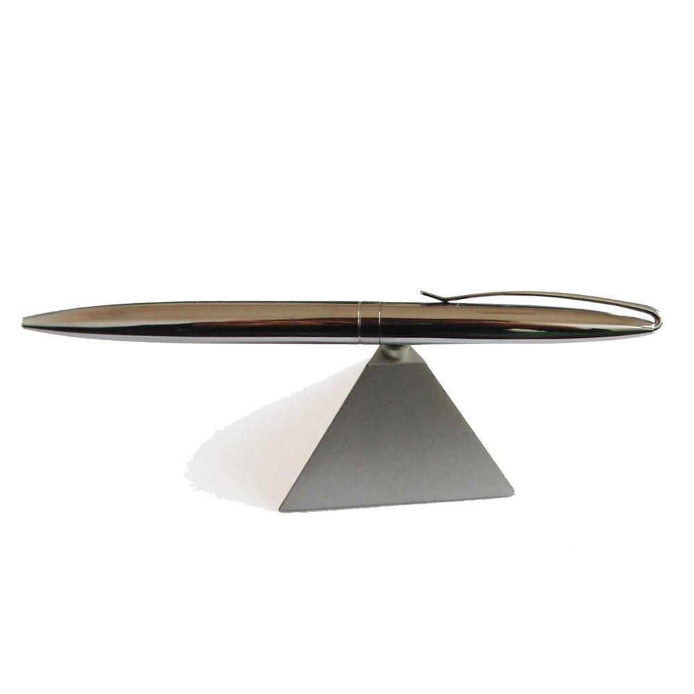Pero základní pero Světlé chromové kovové pero se základnou trojúhelníku - magnetické stolní pero s vynikající dárkovou krabicí a extra náplní