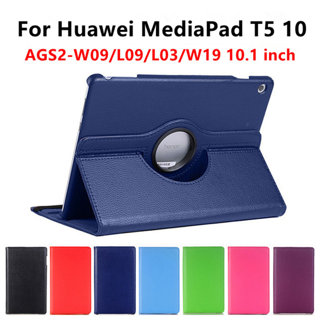 360 Degree Rotating for Huawei MediaPad T5 10 Case T5 AGS2-W09/L09/L03/W19 10.1 inch PU Leather Stand Smart Tablet Cover+Stylus