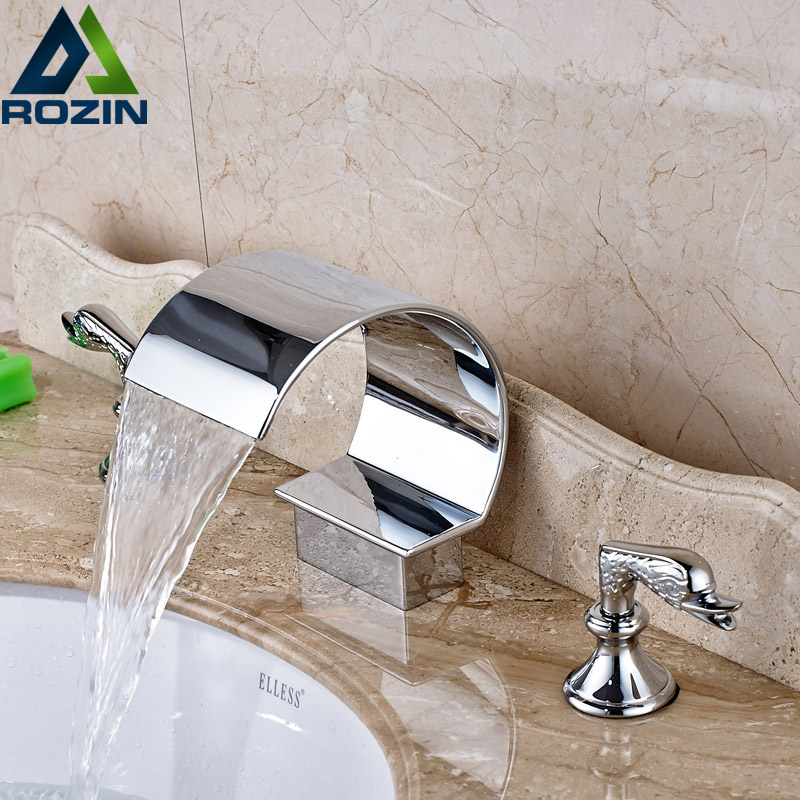 Modern Chrome Bathroom Basin Faucet Dual Handle Mixer Taps Deck Mount Waterfall Spout