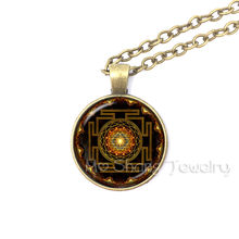1pc Sri Yantra Mandala Glass Dome Pendant Necklace DIY Handmade Fashion Buddhist Spiritual Religion Jewelry Charm Trendy Gift(China)
