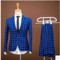 2017 Fashion Custom Men suits jacket + pants slim blue grid men's Blazers groom wedding dress