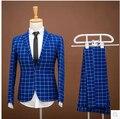 2017 Moda Homens Feitos Sob Encomenda ternos Blazers jacket + calças slim azul da grade dos homens vestido de casamento do noivo
