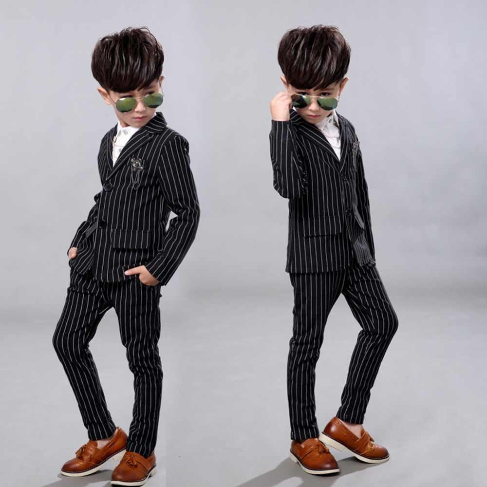 ac6de839903 ... 2Pcs Kids boys Strip White Black Formal Wedding Dress Suits Casual Wear  Jacket Sets Slim Outfit ...
