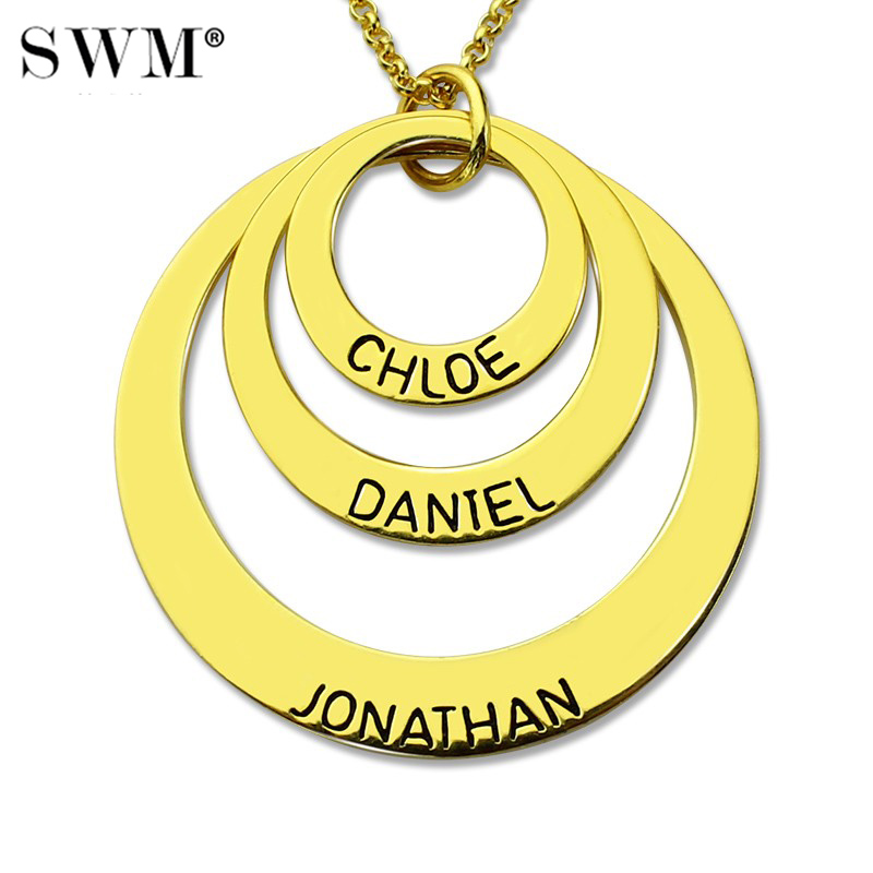 Custom Name Necklaces Gold Color Chain Layered Necklace with Three Kids Names Engraved Circles Pendant Jewelry
