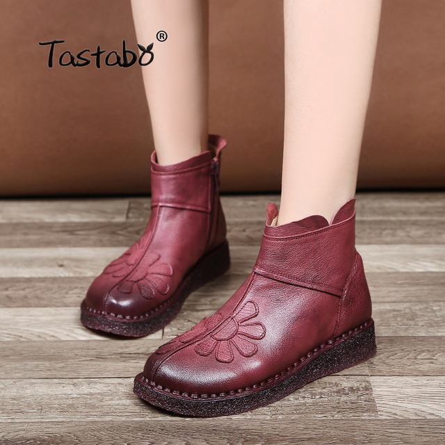 c0ad4de3e US $48.96 49% OFF|Tastabo Flower Ankle Boots for Women 2018 Fashion Boots  Women Autumn Classic Black Flat with Genuine Leather Shoes Ladies Boots-in  ...