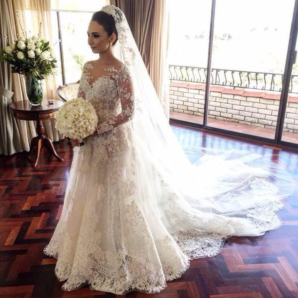 902f047f5a9 2016 Retro 3D Floral A-line Wedding Dresses with Detachable Skirt 2 in 1  Dress Jewel Neck Long Sleeves Full Lace Bridal Gowns