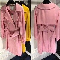 2018 Весна плащ для женщин Красивые цвета VS розовый casaco feminino элегантный Abrigo Mujer длинное пальто повседневная женская ветровка