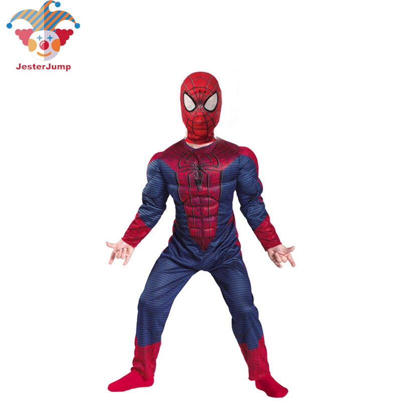 Spiderman Costume For Christmas 3d Boys Muscle Super Hero Amazing Spider Man Mask Suit Avengers Costume Halloween Child Cosplay