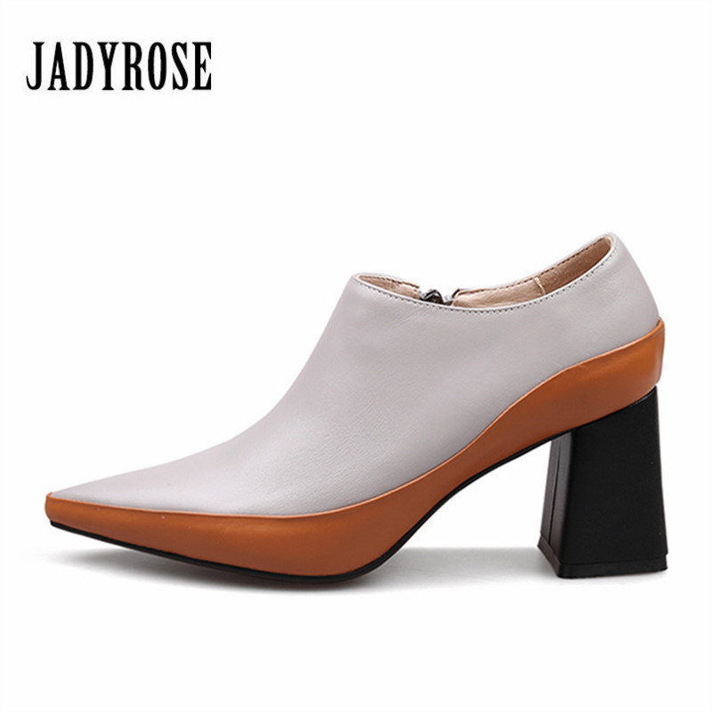 Jady Rose 2018 New Design Women Ankle Boots Pointed Toe Shallow Autumn Chelsea Botas Mujer 7CM Chunky High Heels Women Pumps jady rose mixed color women ankle boots pointed toe chunky high heel booties suede lace up botas mujer women pumps