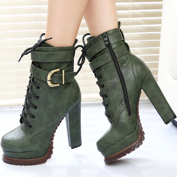 0b568c61e341 Super Ultra 5 Inch 12 Cm Black Green Platform Chunky High Heels Heeled  Shoes Women Soft Leather Belt Buckle Lace Up Ankle Boots