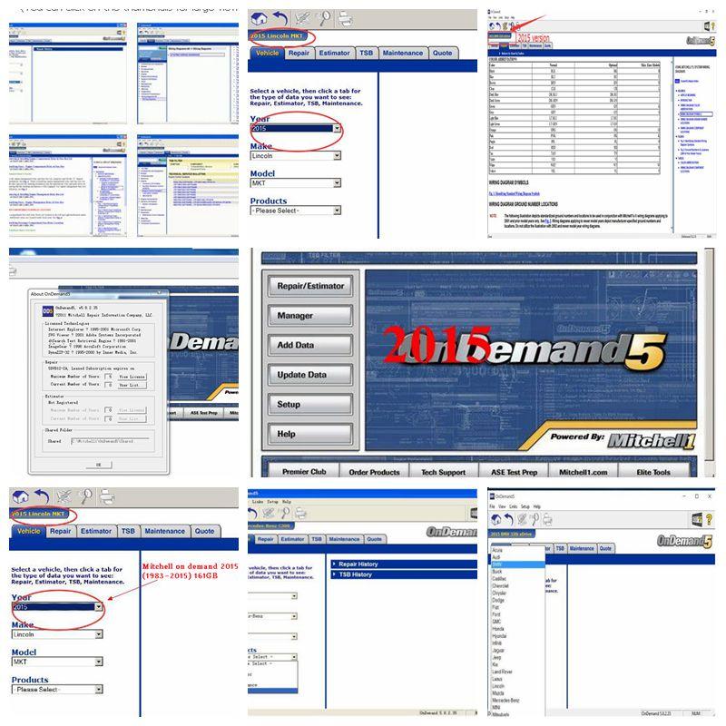 Mitchell à la demande 5 2015 V en 250 gb hdd usb disque dur logiciel de réparation automatique mitchell ondemand logiciel de réparation de voiture pour la plupart des voitures