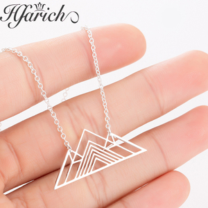 Hfarich 2019 New Trendy Art Deco Triangle Necklace Mountain Charm Exquisite Geometric Necklaces Female Jewelry of Men Women Gift(China)