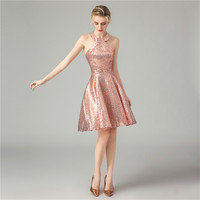 Sexy Halter Sequin Pink Cocktail Dresses Sleeveless A line Above Knee Length Dress Cocktail party dress robe de soiree