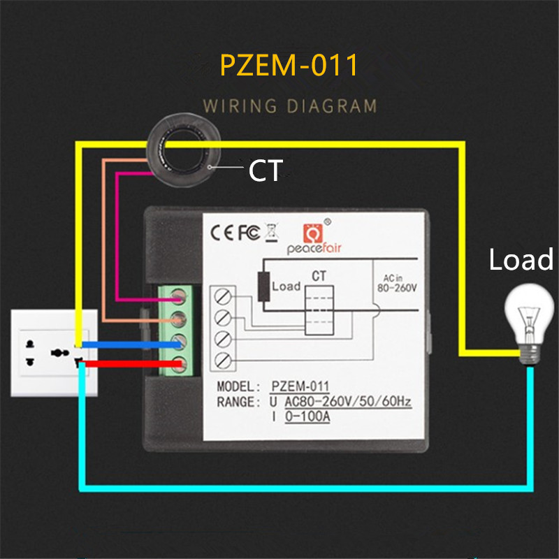 ac single phase digital panel voltmeter ammeter 220v 100a voltage current  energy electricity kwh meter pzem 0 11 with ct coil-in current meters from  tools