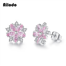 Ailodo Cute Pink Crystal Sakura Flower Earrings For Women Romantic Party Wedding Stud Fashion Jewelry Gift LD078