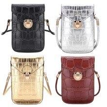 12055c9f16f7 Осмонд Серебряный Мобильный телефон мини сумки маленькие клатчи сумка на  ремне для женщин из крокодиловой кожи