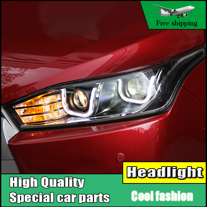Car Style Head Lamp Case For Toyota YARiS headlights 2014-2016 double U led drl HID KIT Bi-Xenon Lens low beam Accessories auto clud style led head lamp for benz w163 ml320 ml280 ml350 ml430 led headlights signal led drl hid bi xenon lens low beam