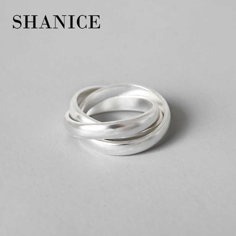 SHANICE 925 Sterling Silver Jewelry Fashion Chic Open Rings for Women Frosted Dull Dloss Triple Circle Ins Finger Ring