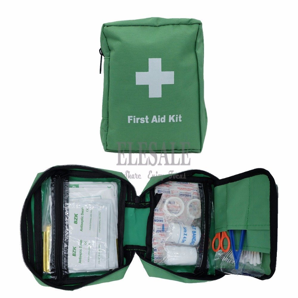Portable 100-In-1 Emergency Kits Green Water-Resistant First Aid Bag For Home Travel Car Outdoor Camp Emergency Wound Treatment