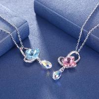 Swarovski element crystal butterfly sterling silver necklace SVN273
