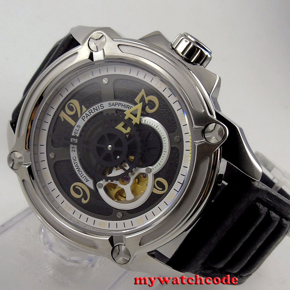 44mm Parnis black dial Sapphire Glass 21-jewels miyota Automatic mens Watch P661 все цены