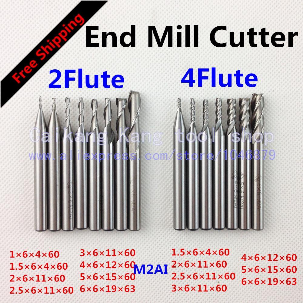 Free shipping 15 box New 4flute 2flute M2AI dia end mills milling cutter machine tool CNC